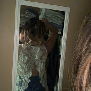 Free people blouse with lace open back